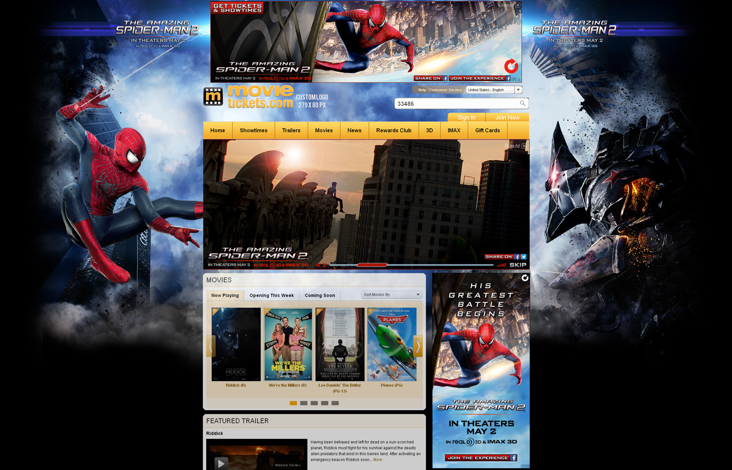 Spiderman 2 Movie Tickets Page Takeover